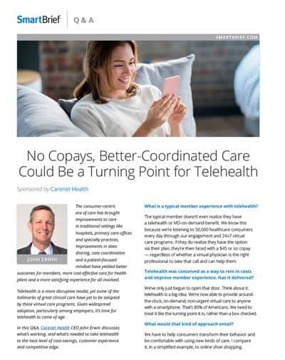 Cover page of Smart Brief Q&A: No Copays, Better Coordinated Care Could Be a Turning Point for Telehealth