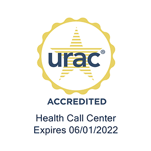 URAC Accreditation certificate for a health call center seal that expires 6/01/2022.