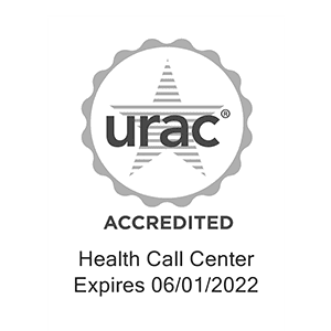 URAC accreditation certificate for a health call center seal