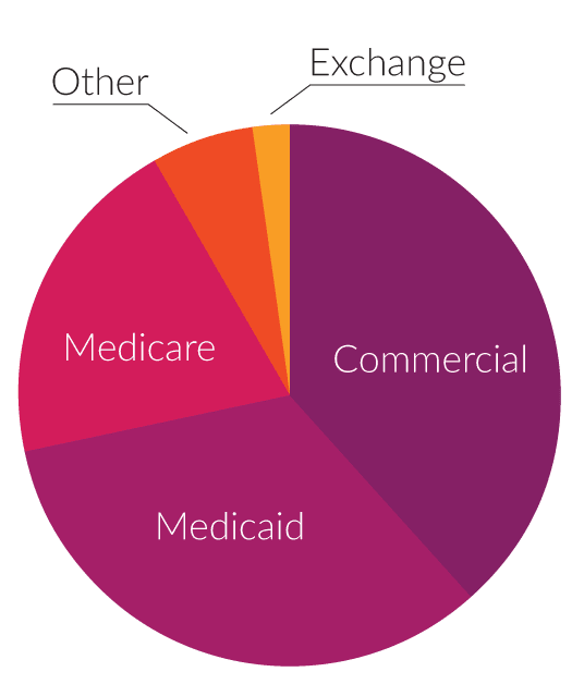 Piechart showing the kinds of health plans Carenet supports including Medicare, Medicaid and others